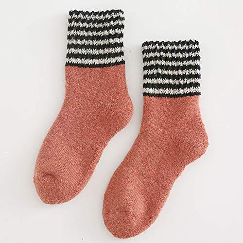 nobrand SOLYXQ Damen Socken Winter 3 Paar Dicke Socken Frauen Einfache Winter Baumwolle Patchwork Socken Warm Halten Streifen Bequem Stretch Mid Socken Weiblich Lässig -