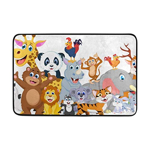 LINGVYTE Cute Kids Tropical Animal Forest Jungle World Map Doormats Floor Mats Shoe Scraper for Home Indoor Entrance Way Front Door 23.6 by 15.7 Inches 40 x 60 cm (Service Forest Hose)