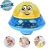 Elektrische Induktion Sprinkler Badespielzeug, Badewanne Spielzeug Sprinkler kleinen Brunnen Sohn liebt viel Spaß UFO Form musikalische Spray Wasser LED-Licht musikalische sicher Lieblings (UFO Gelb)