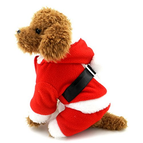 (selmai Hund Santa Claus Kostüm FLEECE MANTEL Small Pet Weihnachten Outfits rot)
