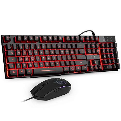 Rii Gaming RK101 (Layout Italiano) - Set Tastiera e Mouse da Gioco, retroilluminati a LED, sensibilità Regolabile Fino a 3.200 DPI