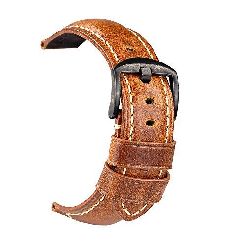Uhrenarmband Retro Panerai Herren Leder Ersatz Uhrenarmband 20mm 22mm 24mm Geeignet für traditionelle High-End-Uhren Zubehör oder Sport Fashion Smart Uhrenarmband Braun 22mm