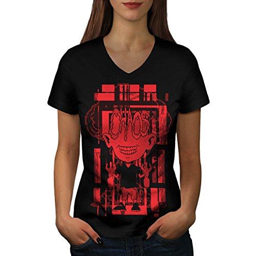 Verrückt Wissenschaftler Horror Bombe Kind Damen M V-Ausschnitt T-shirt | Wellcoda