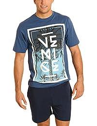 El Búho Nocturno Pijama de Caballero Corto Moderno Estampado Ropa de Dormir  para Hombre - 0e1b8c11b7f