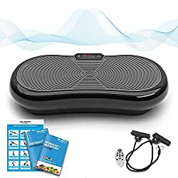 Bluefin Fitness Ultra-Low Vibration Plate with Quiet 1000-Watt Motor | LCD Display & Bluetooth Speaker | 5 Training Programs - 180 Level | Incl. Remote control, exercise bands & exercise posters