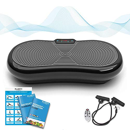 Bluefin Fitness Ultraflache Vibrationsplatte mit Leisem 1000-Watt Motor | LCD Display & Bluetooth Lautsprecher | 5 Trainings-Programme - 180 Level | Inkl. Fernbedienung, Trainingsbänder & Übungsposter (schwarz) - Elektro-muskel-toning