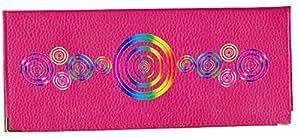 Porte chéquier long portefeuille porte carte en cuir fushia motif cercle
