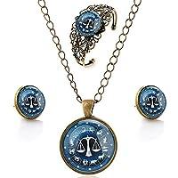 luremeŽ Time Gem The Zodiac Series Vintage Libra Pendant Necklace Stud Earrings Hollow Flower Bangle Jewellery Sets (09000644)