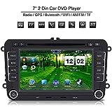 Qiilu Touchscreen 7 Zoll Universal 2 DIN Auto HD DVD Player GPS Navigation Bluetooth für VW/Volkswagen/Polo/Passat/Golf/Skoda/Seat