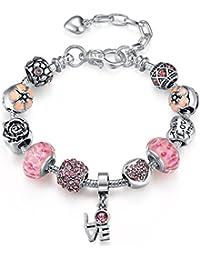 39937d328a0 Presentski Bracelet Charms Réglable Bleus Murano Love Crystal Flower Perles pour  Femme Cadeaux