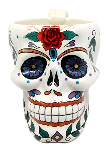 Atlantic Sammlerstücke weiß Tribal Day Of The Dead rot Rose Sugar Skull Drink Coffee Tasse Keramik 15,9cm H Rote Rose Becher