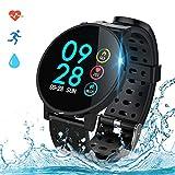 COULAX Smartwatch Fitness Armband Uhr IP68 Wasserdicht 1,3 Zoll Uhr Voller Touch Screen Fitness Tracker Sportuhr mit Pulsmesser Schlaftracker Stoppuhr für Damen Herren Smart Watch für iOS Android
