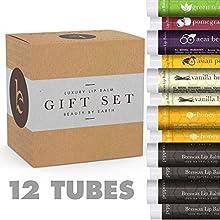 Bálsamo labial Set Regalo - Pack de 12 tubos de tratamiento de labios de cera de abeja. Ingredientes 100% naturales - Sabores: menta, té verde, bayas de Acai, pera asiática, Granada, miel y vainilla. Fabricado en Estados Unidos por Beauty by Earth
