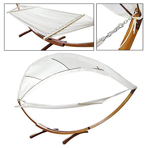 Hengda® Hängematte mit Gestell Hängemattengestell Hängematten Holz +Dach bis 200kg für Garten, Terrasse und Haus 415cm -