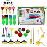 Aolvo Pinsel für Kleinkinder, Early Learning Finger Malerei Kit mit Schwamm Pinsel für Kids, süßen Formen für Heimwerker Entertainment (29 Stück)