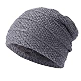iHENGH Unisex Winter mütze Damen Herren Warm HäKeln Winter Wolle Stricken Ski Beanie Skull Slouchy Caps Strickmützen Hat (Grau, 44-60cm)
