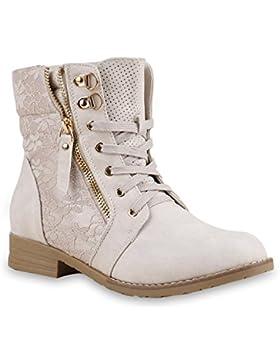 Stiefelparadies Damen Schnürstiefeletten Stiefeletten Worker Boots Kurzschaft-Stiefel Spitzenstoff Leder-Optik...
