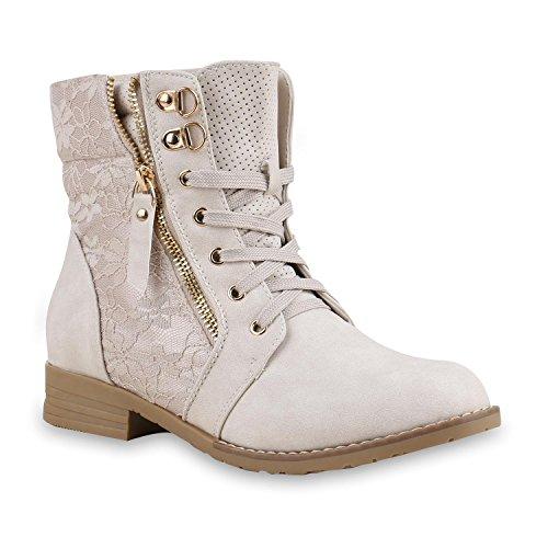 Stiefelparadies Damen Stiefeletten Schnürstiefeletten Leder-Optik Schuhe Spitzenstoff Boots Zipper Schnürboots 130897 Creme Spitze 43 Flandell