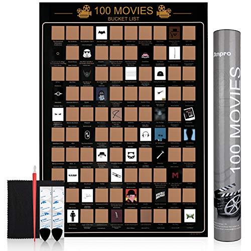 Anpro Poster 100 Film da Grattare 42x60 il Film Lista dei Desideri Gratta i Film che hai Visto 6 Pezzi di Accessori per gli Amanti del Cinema