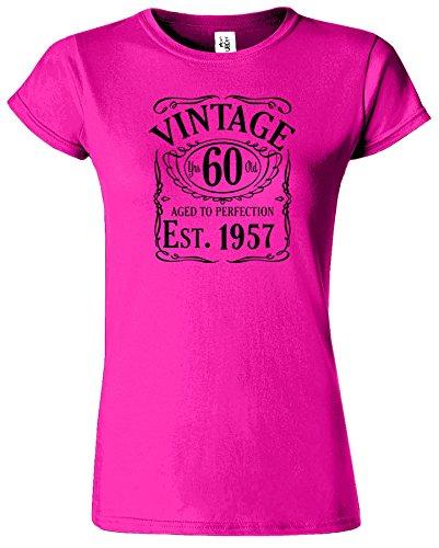 Vintage Est 1956 Damen 60. Jahr T Shirt Geburtstags Geschenk Heliconia / Schwarz Design