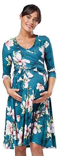 Happy Mama.Damen 2in1 Umstands Gerafften Stillkleid Doppelschicht 3/4 Ärmel.609p (Grün mit Blumen)
