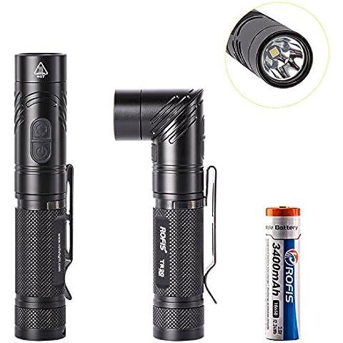 ROFIS TR20CREE XP-L HI V3LED 1100lúmenes linterna recargable por USB, Magnético adjustable-head portátil compacta táctica LED anglelight con 3400mAh batería