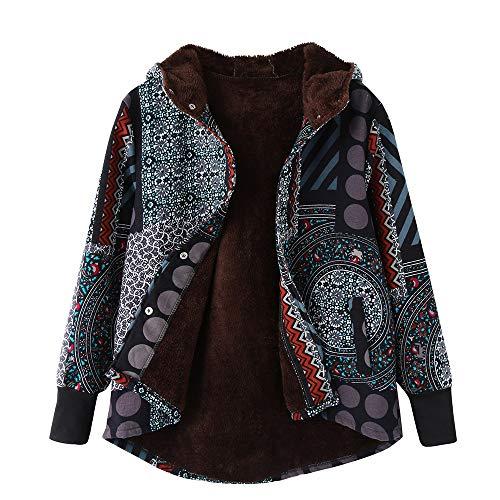 Cappotti Invernali da Donna - Donne Plus Size Giacche da Donna Caldo Outwear Bohemian Floreale Stampa Concappucciata Tasche...