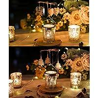 Cosy Ycy Juego de 2 portavelas giratorio para boda, cumpleaños, Navidad, fiesta, decoración con el patrón de copo de nieve, estrella y cedro, envío al azar, Star+Cedar