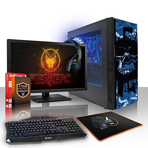 Fierce Phoenix RGB Gaming PC Bundeln - Schnell 3.4GHz Quad-Core AMD Ryzen 3 1200, 2TB Festplatte, 16GB 2666MHz, AMD Radeon RX 550 2GB, Tastatur (VK/QWERTY), Maus, 24-Zoll-Monitor, Headset 511600
