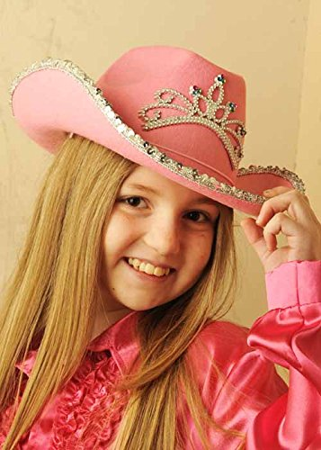 Niños tamaño lentejuelas Rosa sombrero de vaquera con Tiara