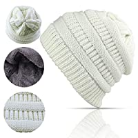 Lobeve Cable Knit Beanie Winter Warm Fleeced Fuzzy Lined Skull Hat for Womens Mens-White