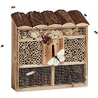 Relaxdays 10020726_469 Casetta per Insetti da Appendere Hotel per Api Casa Farfalle in Legno Marezzato HLP: 31 x 30,5 x 9,5 cm, Beige