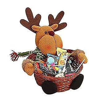 Cesta de almacenaje para Navidad de Keepwin, para caramelos o decoración, diseño de Papá Noel, muñeco de nievo, reno y elfo