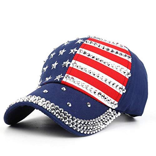 WYLBQM Hut Frauen Strass Baseballmütze Denim Papa Hut USA Flagge Mode Stern Hip Hop Caps Männer Einstellbare Weibliche Hüte Hohe Qualität Usa-mesh-hut