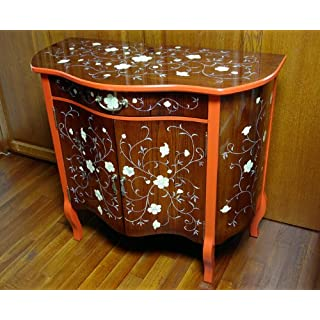 Antique Alive Home Decor Mother Pearl Inlay Lacquered Arabesque Flower Design Wood Cherry Color Drawer Hall Console TV Stand Sofa Table