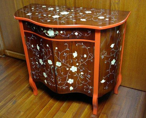 Perlmutt Inlays, Lackiert, Design Arabeske Blumen, Kirschfarbenes Holz, Schublade Tisch Konsole, Hall, TV Möbel (Konsole Chinesische)