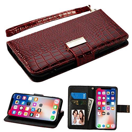 Fall + Wrap + Gap PU Leder Tasche/Clutch/Tasche Passend für Apple iPhone X/10mit Kreditkarte Slots MYBAT Crocodile-Embossed-Burgund/Res (Boost Mobile Handys Iphone Fall)