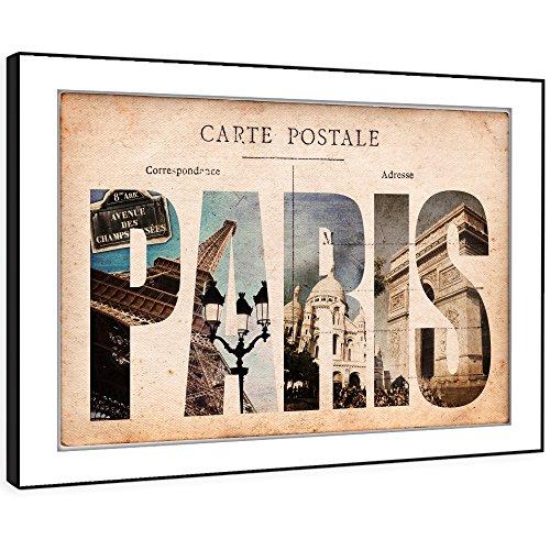 Bfc686c incorniciata immagine della parete stampe d'arte - di età compresa tra carta cartolina parigi moderna paesaggio scenico soggiorno camera da letto pezzo home decor guida facile hang (58x41cm)