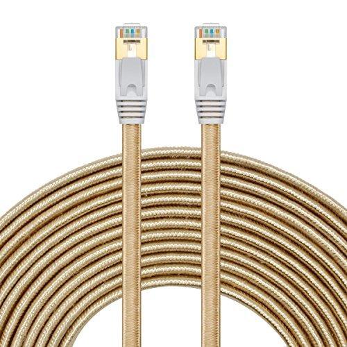 Netzwerkkabel 5m,SNANSHI Ethernet Kabel 5m Cat7 Gigabit Lan Netzwerkkabel RJ45 10Gbps 600Mhz/s STP Molded Verlegekabel Nylongeflecht für Switch/Router/Modem/Patchpannel/Access Point/Patchfelder