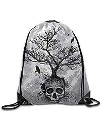 AlineAline Unisex Skull Tree Flying Eagle Print Drawstring Backpack Rucksack Shoulder Bags Gym Bag Sport Bag