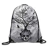 Skull Tree Flying Eagle Print Drawstring Backpack Rucksack Shoulder Bags Gym Bag Sport Bag