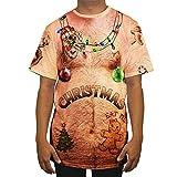 SEWORLD Weihnachten Christmas Herren Herbst Winter Männer Lustige Weihnachten 3D Drucken O-Ausschnitt Kurzarm Bluse Tops T Shirt(Mehrfarbig,EU-52/CN-XL)