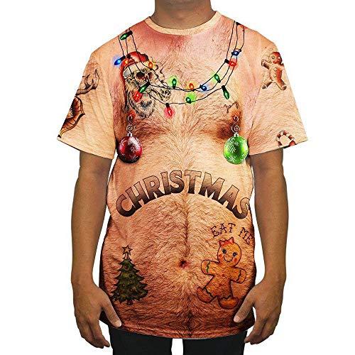 SEWORLD Weihnachten Christmas Herren Herbst Winter Männer Lustige Weihnachten 3D Drucken O-Ausschnitt Kurzarm Bluse Tops T ()