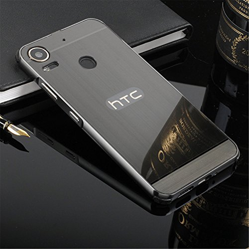D-kandy Luxury Metal Bumper + Acrylic Mirror Back Cover Case For HTC DESIRE 10 PRO - Black