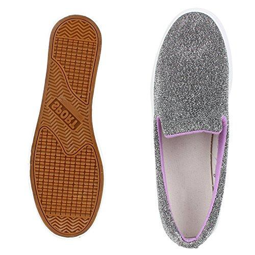 Modische Damen Sneakers | Bequeme Slip-ons| Funkelnde Glitzerapplikationen | Angesagte Plateausohle | Gr. 36-41 Grau Meliert