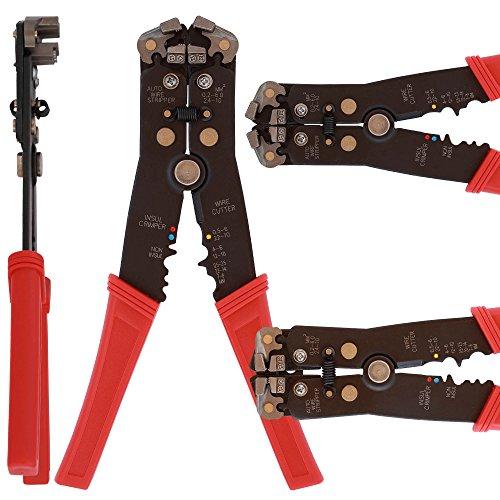Preisvergleich Produktbild Abisolierzange mit Crimp Funktion 200 mm Stahl mit Kunststoff Griff und Stellschraube zum Entfernen von Isolationen und verpressen von Kabeln