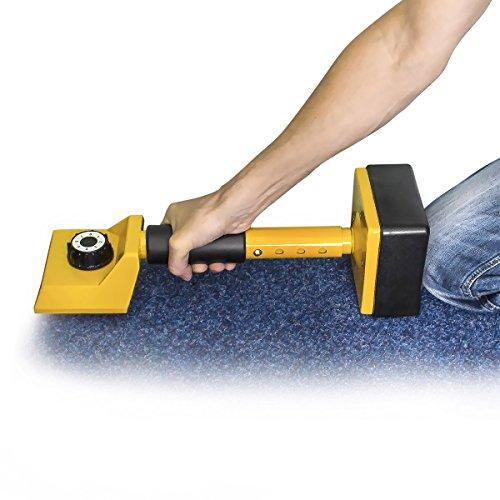 Relaxdays Kniespanner für das Verlegen von Teppichen 16 Zinken, handlich, stabil, gelb-schwarz