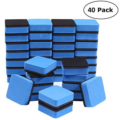 40pezzi cancellino magnetico, cancellabile a secco cancellare lavagna detergenti tergicristallo per bambini, casa, ufficio, scuola (blu) 5 * 5 * 2cm blue