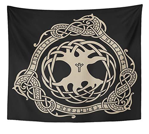 Yggdrasil Design von Raben im keltischen skandinavischen Stil und nordischen Runen, Schwarz, antikes Design, 127 x 152 cm 50