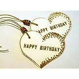 Geschenkanhänger HAPPY BIRTHDAY/ 2 STÜCK/ Präsentanhänger/ Geschenkdekoration/Glückwunschkärtchen/ Gift Tag/ Deko - Anhänger/ Holzschliffpappe/ Naturdeko